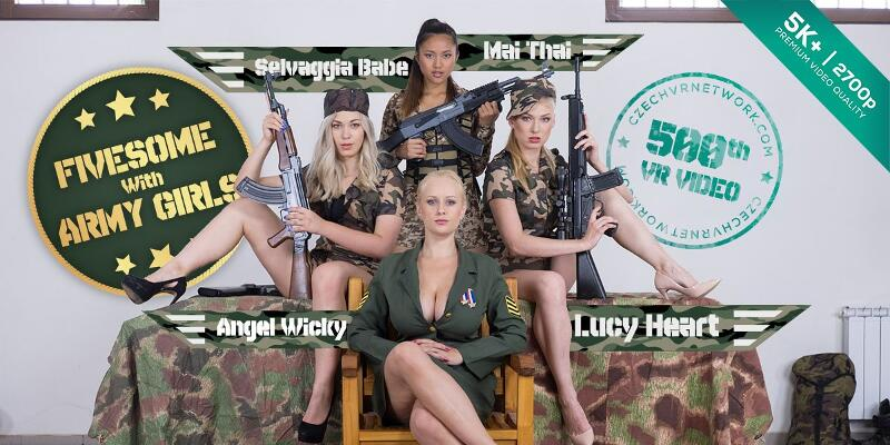 Fivesome With Army Girls feat. Angel Wicky, Lucy Heart, May Thai, Selvaggia Babe - VR Porn Video
