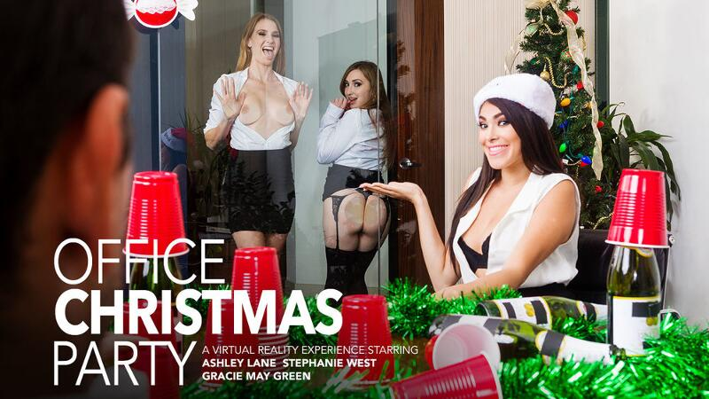 Office Christmas Party feat. Ashley Lane, Gracie May Green, Stephanie West, Ryan Driller - VR Porn Video