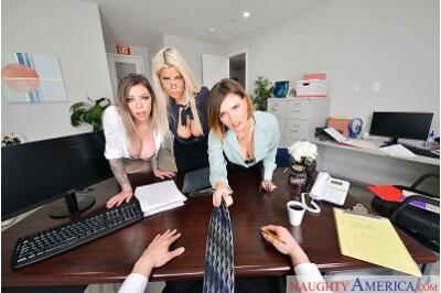 Big Tits Office - Krissy Lynn, Bridgette B, Karma Rx, Brad Sterling - VR Porn - Image 11