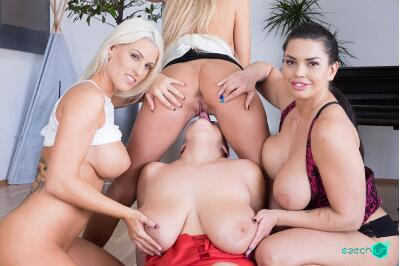 Fivesome with Huge Tits - Florane Russell, Blanche Bradburry, Chloe Lamour, Krystal Swift - VR Porn - Image 21