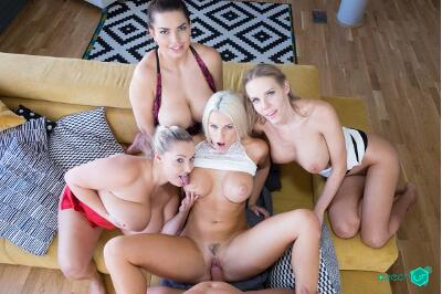 Fivesome with Huge Tits - Florane Russell, Blanche Bradburry, Chloe Lamour, Krystal Swift - VR Porn - Image 23