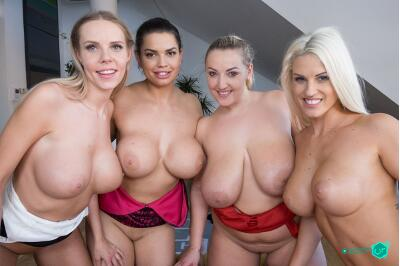 Fivesome with Huge Tits - Florane Russell, Blanche Bradburry, Chloe Lamour, Krystal Swift - VR Porn - Image 30
