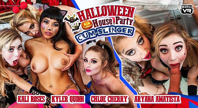 Halloween House Party Cum-Slinger feat. Aryana Amatista, Chloe Cherry, Kali Roses, Kyler Quinn - VR Porn Video