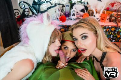 Halloween House Party: Pickle-Dick - Gina Valentina, Anny Aurora, Lena Anderson - VR Porn - Image 1