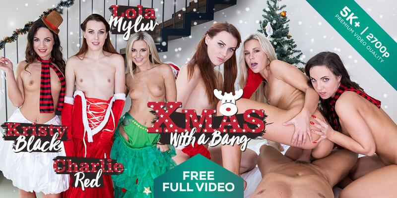 Christmas With a Bang feat. Charlie Red, Kristy Black, Lola Myluv - VR Porn Video