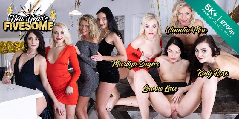 New Year's Fivesome feat. Claudia Mac, Katy Rose, Leanne Lace, Marilyn Sugar - VR Porn Video