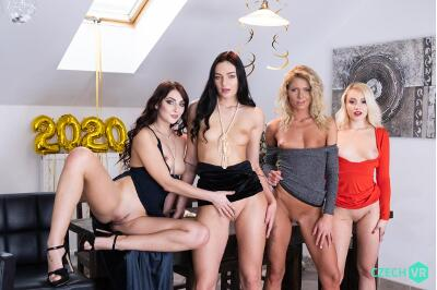 New Year's Fivesome - Claudia Mac, Katy Rose, Leanne Lace, Marilyn Sugar - VR Porn - Image 6