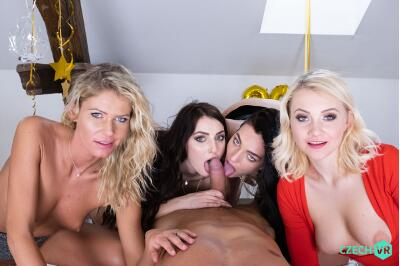New Year's Fivesome - Claudia Mac, Katy Rose, Leanne Lace, Marilyn Sugar - VR Porn - Image 9