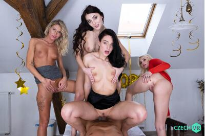 New Year's Fivesome - Claudia Mac, Katy Rose, Leanne Lace, Marilyn Sugar - VR Porn - Image 11