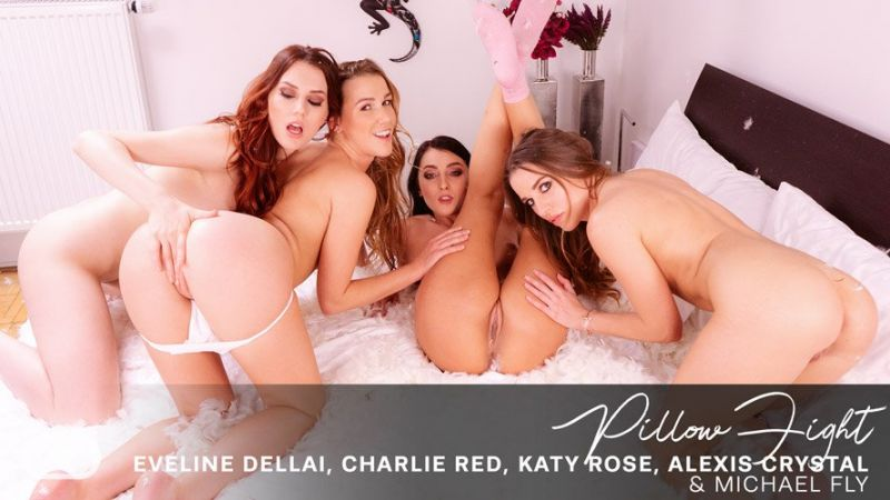 Pillow Fight feat. Alexis Crystal, Charlie Red, Eveline Dellai, Katy Rose, Michael Fly - VR Porn Video