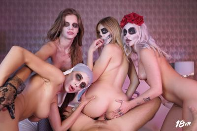 Sharing is Scaring - Marilyn Sugar, Nicole Love, Paola Hard, Sarah Kay - VR Porn - Image 14