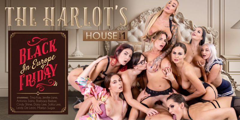 The Harlot's House: Black Friday in Europe Part 1 feat. Antonia Sainz, Barbara Bieber, Cindy Shine, Daisy Lee, Jennifer Jane, Leidy De Leon, Marilyn Sugar, Sofia Lee, Tina Kay - VR Porn Video