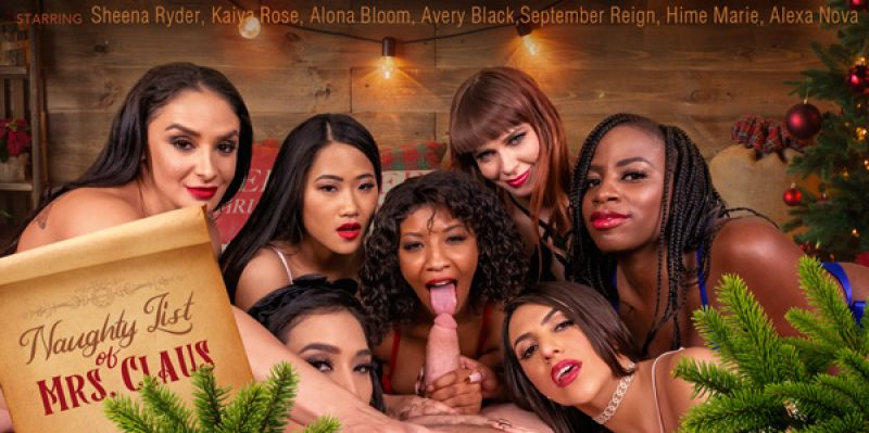 Naughty List of Mrs. Claus feat. Alexa Nova, Alona Bloom, Avery Black, Hime Marie, Kaiya Rose, September Reign, Sheena Ryder - VR Porn Video