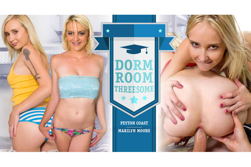 Dorm Room Threesome feat. Marilyn Moore, Peyton Coast - VR Porn Video
