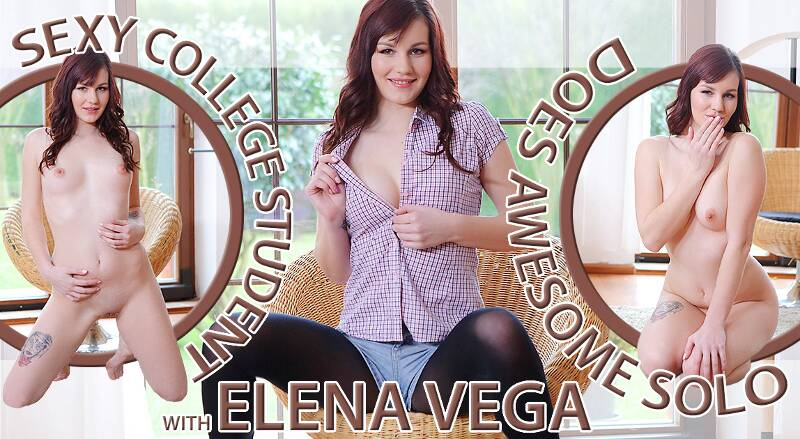 Sexy College Student Awesome Solo feat. Elena Vega - VR Porn Video